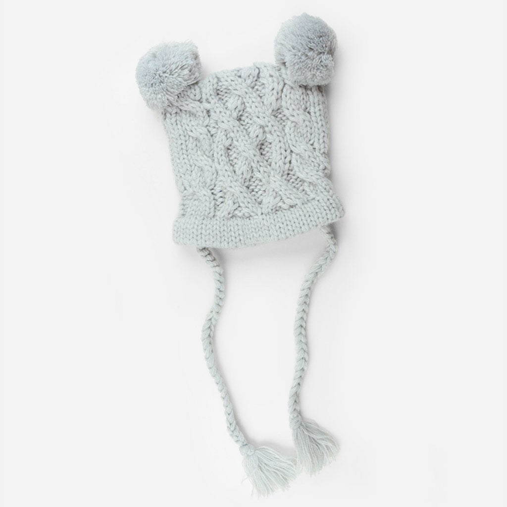 cable knit hat for baby with poms and tassels gray