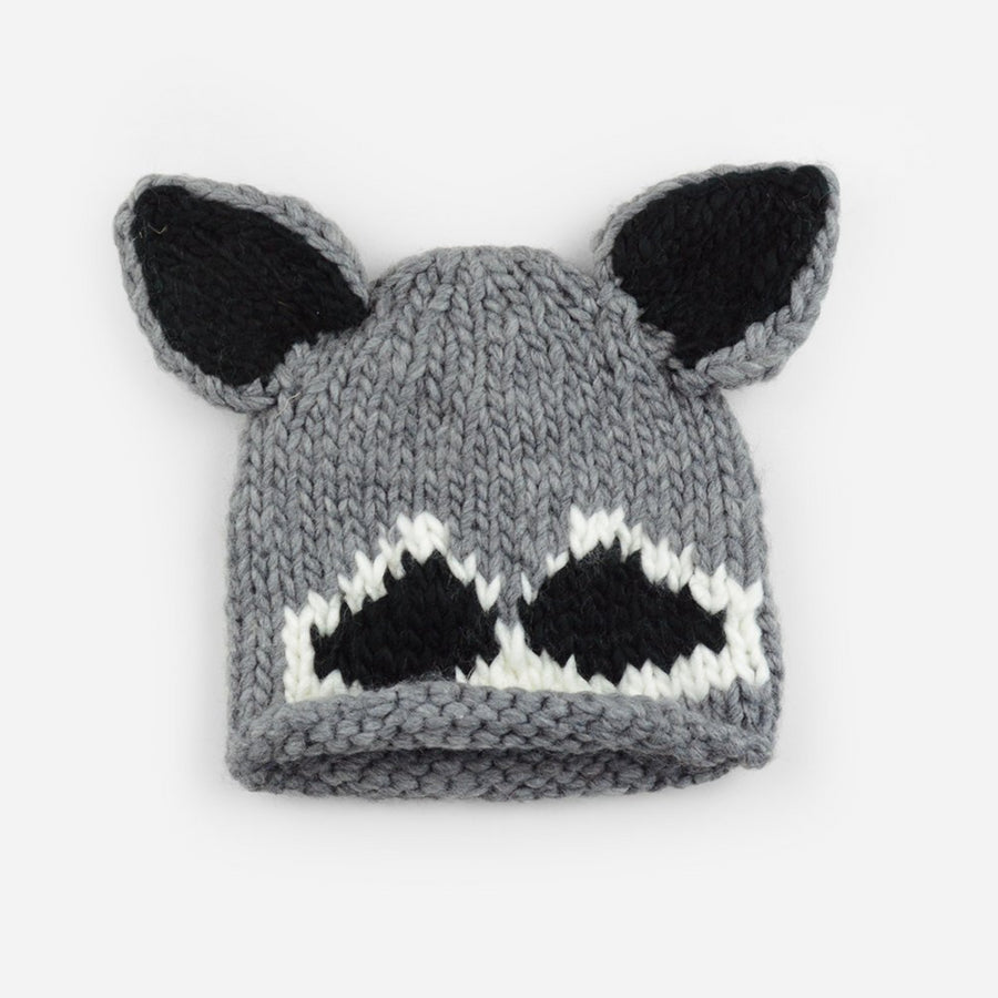 hand knit gray hat with rolled brim and raccoon face and ears
