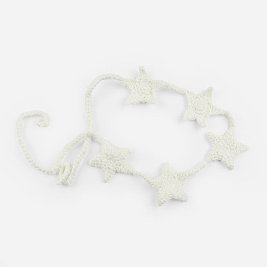 crochet star headband tie back soft gray for baby and child