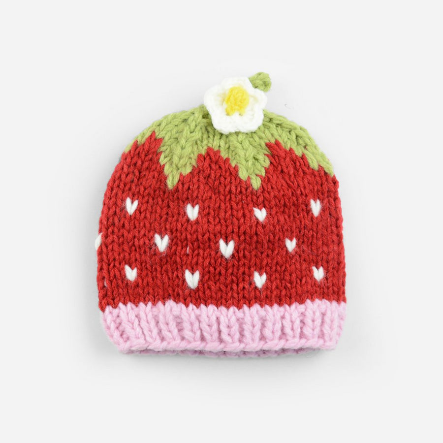 Red strawberry hat pink band green top white flower extra small