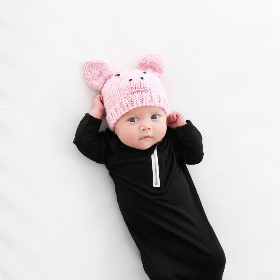 pink pig hat for baby and child with ears, nose, and eyes detail