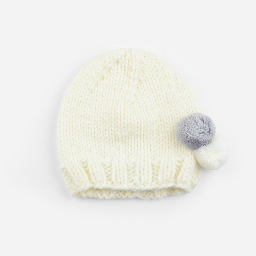acrylic yarn knit cream hat for baby with gray and white poms newborn