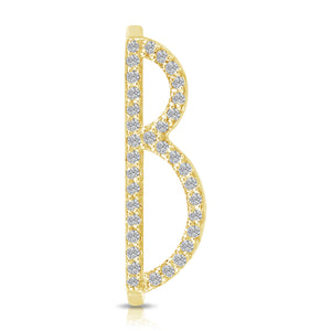 Letter Ring Pave Immediate Delivery