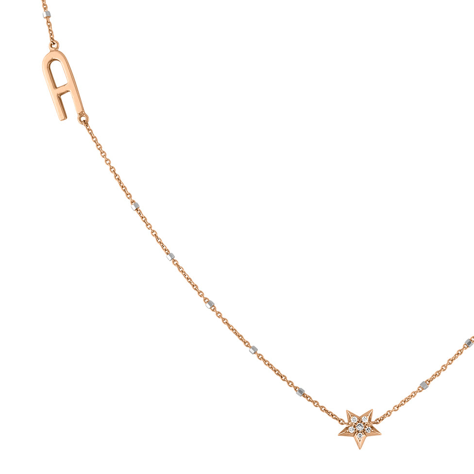 Letter with Diamond Star Necklace