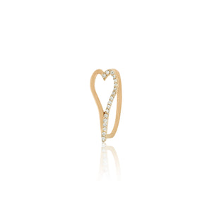 Heart Half Pave Ring