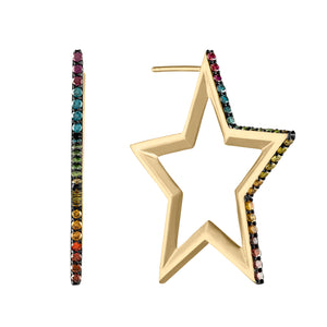 Rainbow Star Hoop Earrings