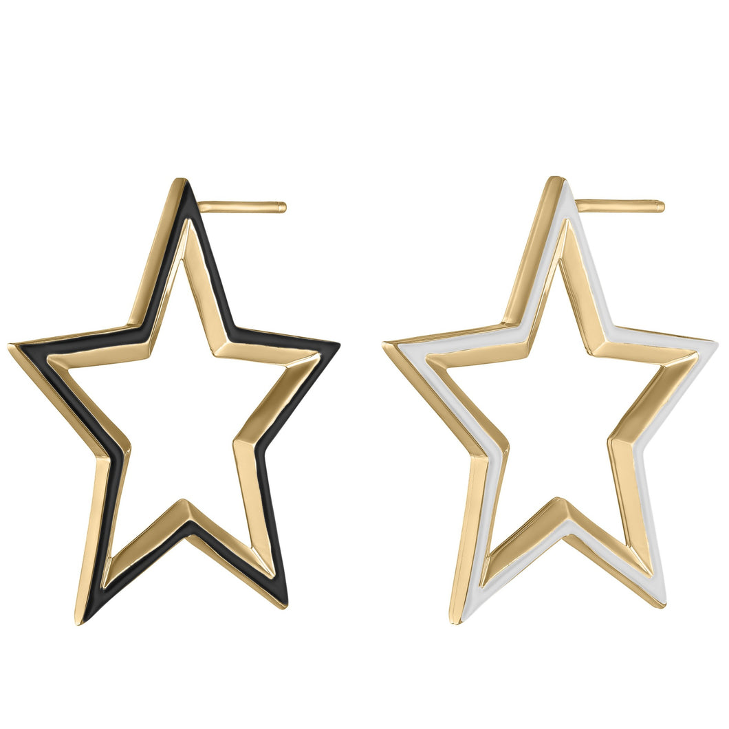 Star Hoop Earrings with Enamel
