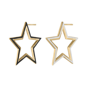 Star Hoop Earrings with Enamel Ready to Ship