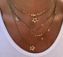 Load image into Gallery viewer, Letter with Gold Star Necklace