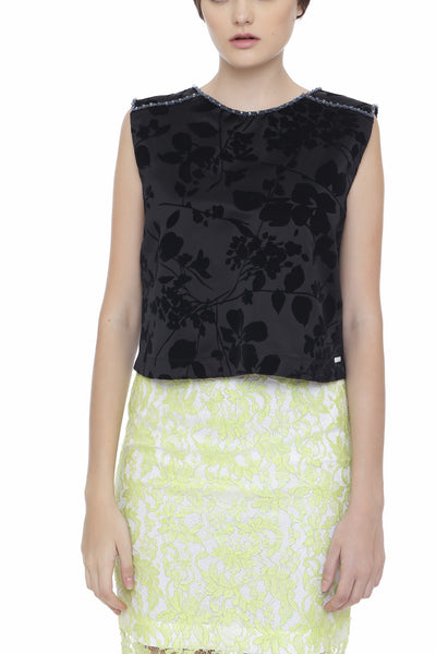 Coated Lace Pencil Skirt