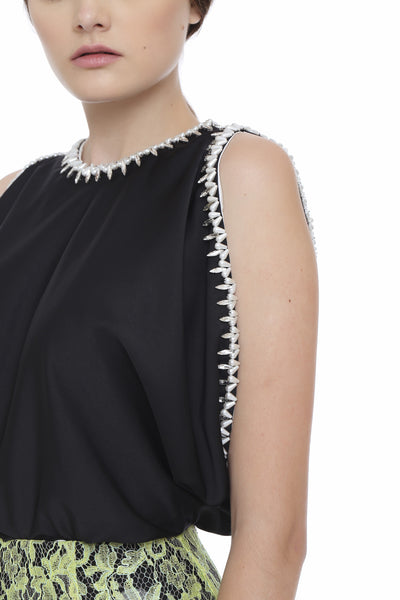 Black and White Beaded Low Armhole Blouse
