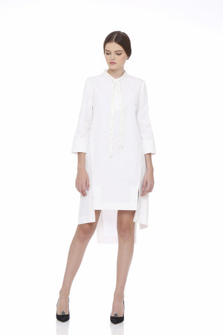 Italian Cotton Dress With Beaded Collar