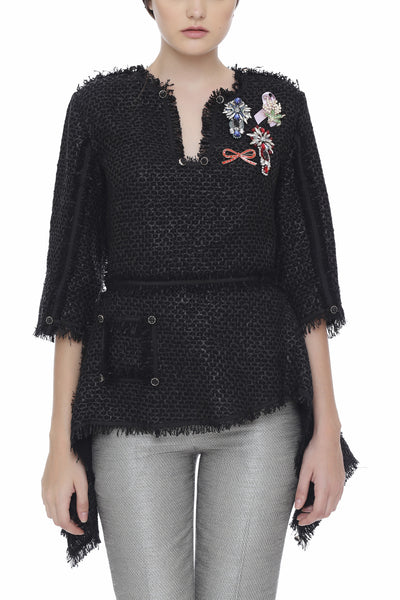 Peplum Tweed Top with Brooches