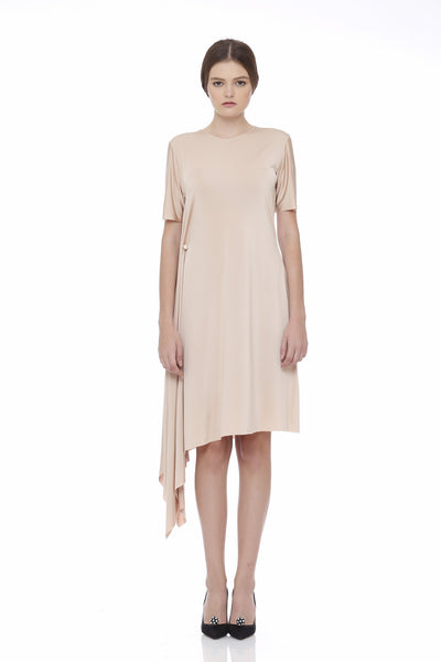 Pearl Studs Uneven Dress