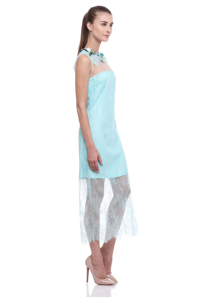 SS16 Blue Lace Sheer Dress