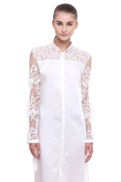 Satin Lace Shirt Dress