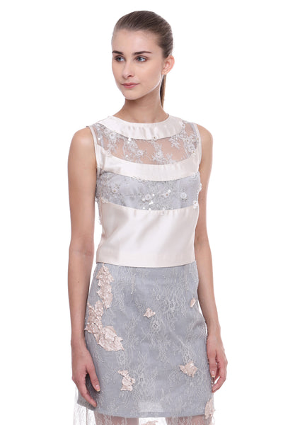 Lace Paneled Silk Top