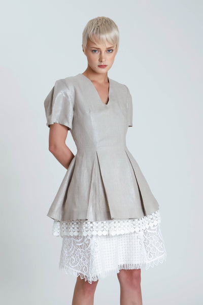 Fred Peplum Linen Top
