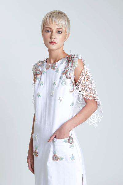 Nuage Day Dress with Handmade Lace Sleeve