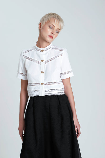 Salvia Cotton Lace Paneled Crop Top