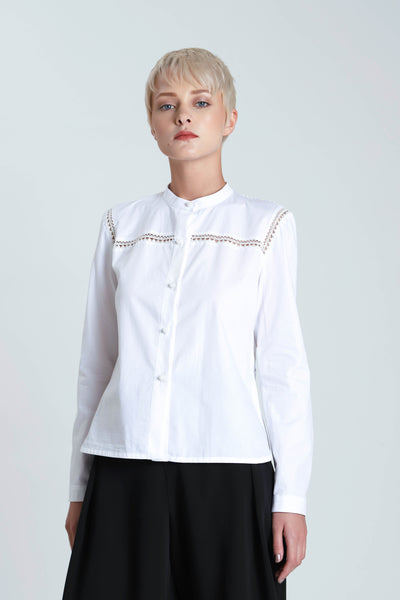 Albert Poplin Handmade Lace Back Shirt