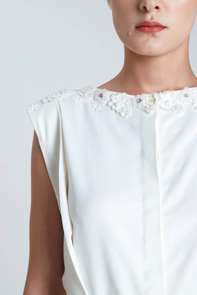 Tara Sateen Embroidered Collared Dress