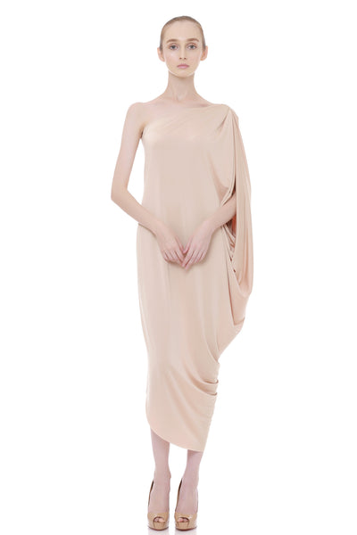 Tarida One Shoulder Dress Nude