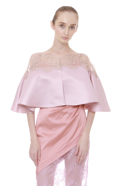 SS16 Pearl on Lace Cape