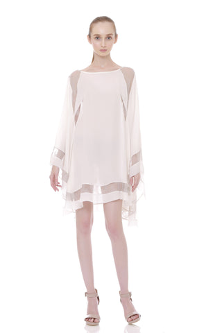Batwing Silk and Lace Trim Dress