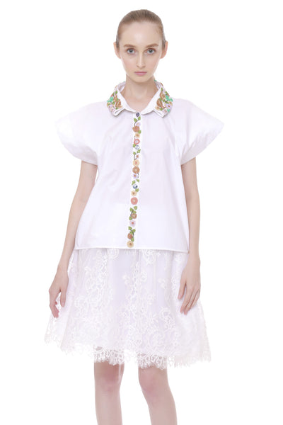Cotton Shirt with beaded collar