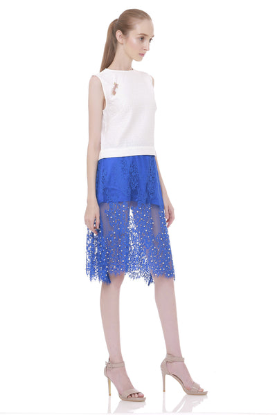 Edelweis Lace Pearls Uneven Skirt