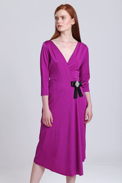 Wrapover Dress with Side Crystal Brooch