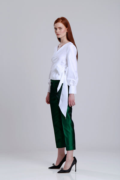 Silk Shantung pencil pants