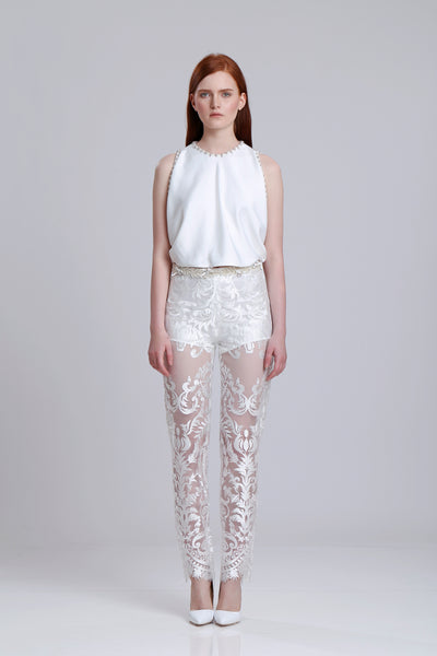 Embroidered lace sheer pants