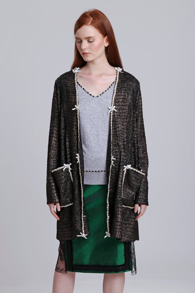 Coated knit cardigans