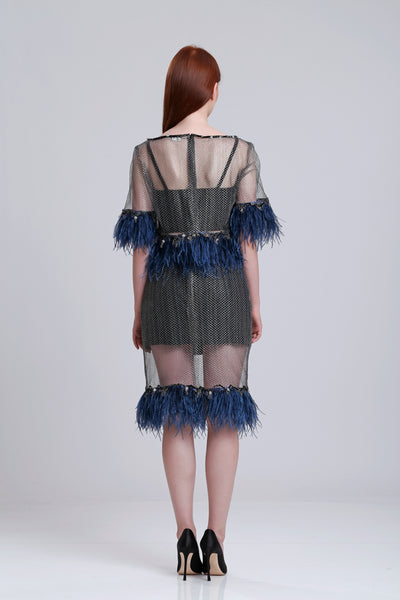 French lace top with ostrich trims