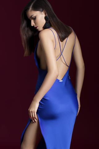 Saphire Blue Bias Slip  Dress