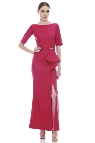 Caia Ruffle Dress Fuschia