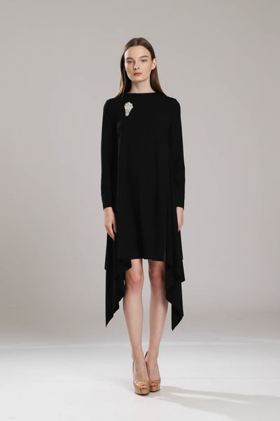 Starlight Oversize T-Shirt Dress with Crystal Brooch