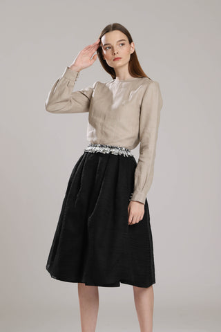 Barfelt Silk Skirt With Featers