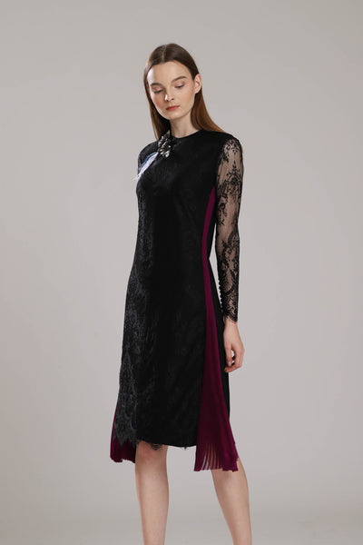 Ashbury Lace Dress with Side Sunray Pleats