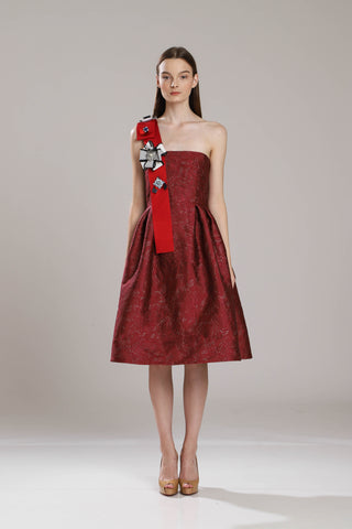 Dryden Sash Jacquard Dress