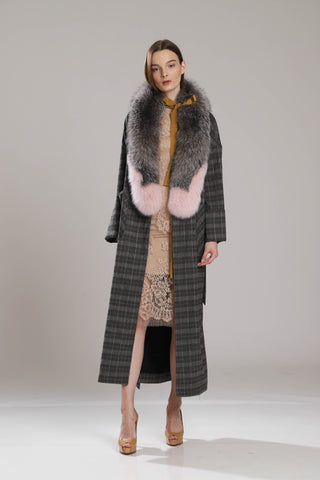 Dawn Oversize Checkered Long Coat With Fur