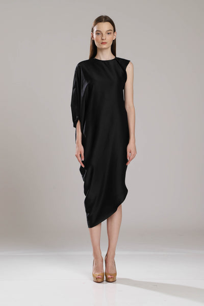 Baker Tarida Satin Batwing Draped Dress