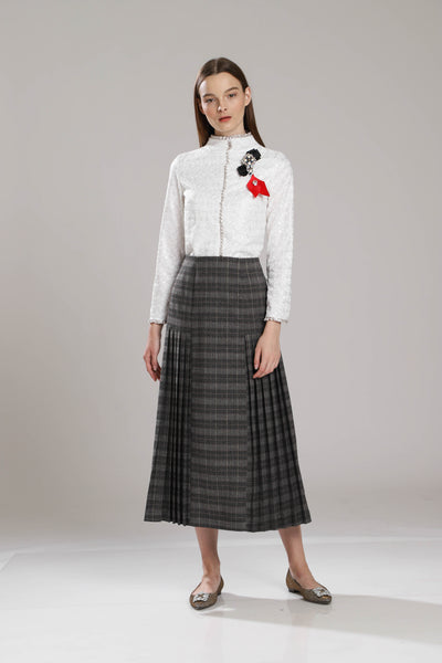 Bowdish Checkered Pleat Skirt