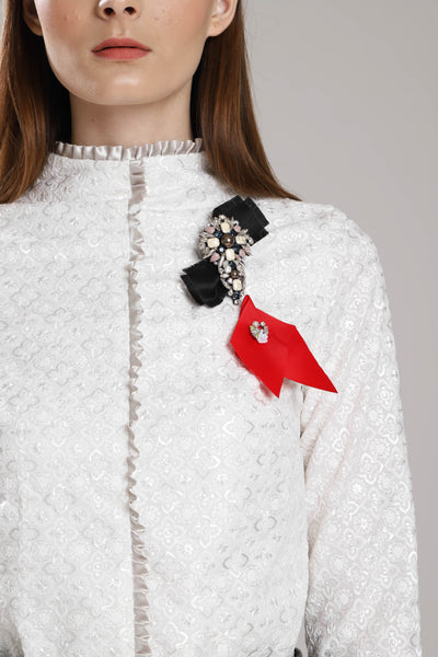 Border Frills Embroidered Top