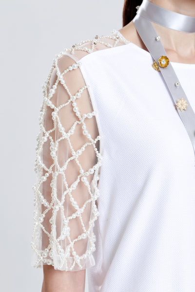 Bernauly Oxford with Pearl Mesh Day Dress