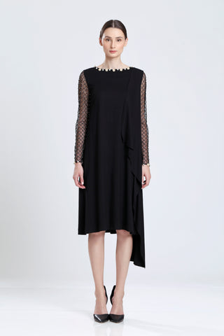 Michel Spandex Dress with Embroidered Sleeve
