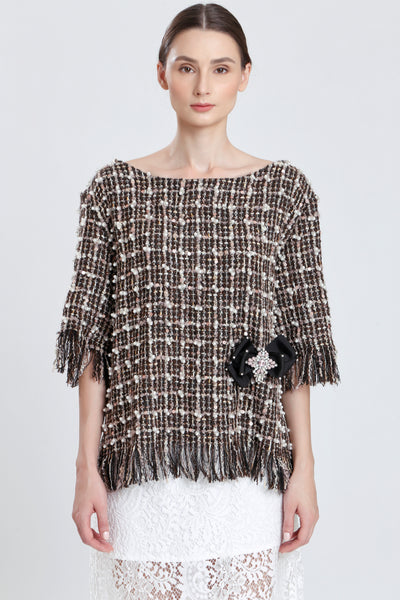 Clairaut Beaded Tweed Fringed Top
