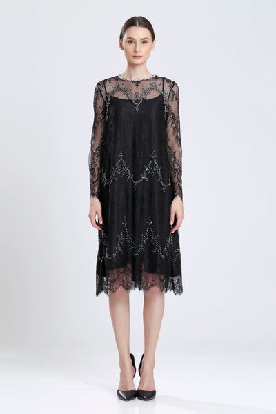 Fresnel Beaded Black Lace Dress
